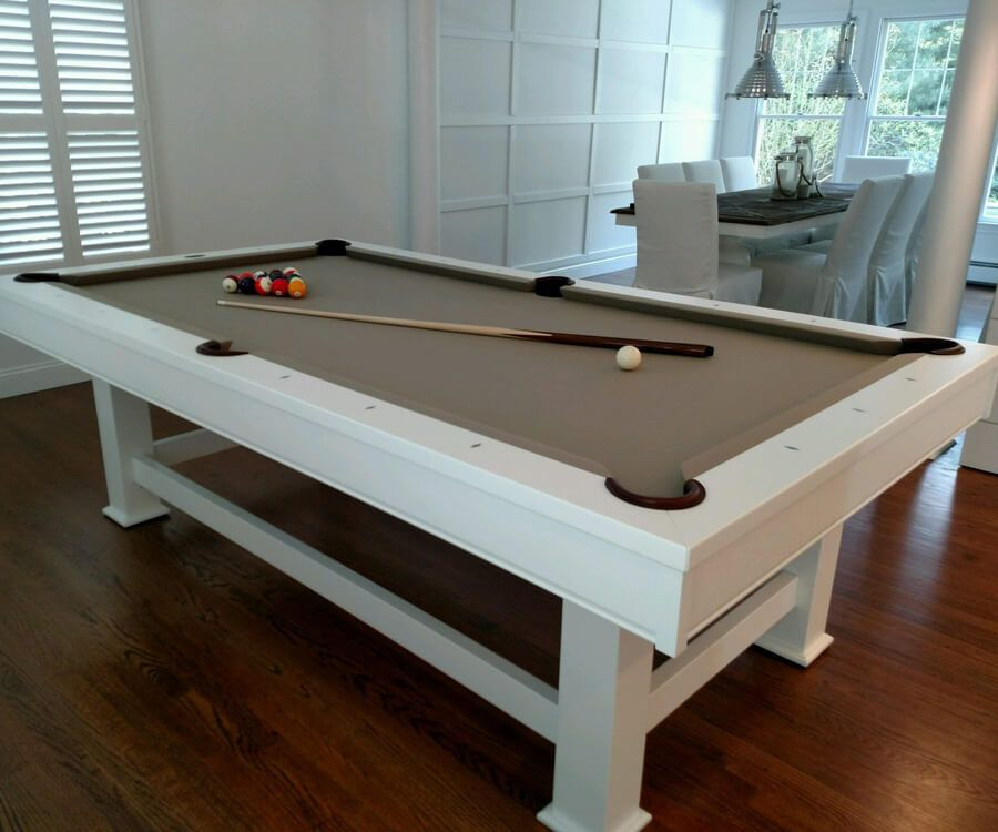 Taos Pool Table Room Setting White Lacquer