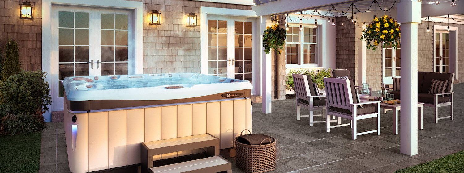 caldera hot tub with steps on stone patio in NC